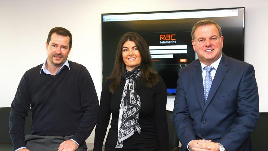 Left to Right: Phil Barnes RAC Telematics, Pauline Nelmes DFC and Uel Butler DFC