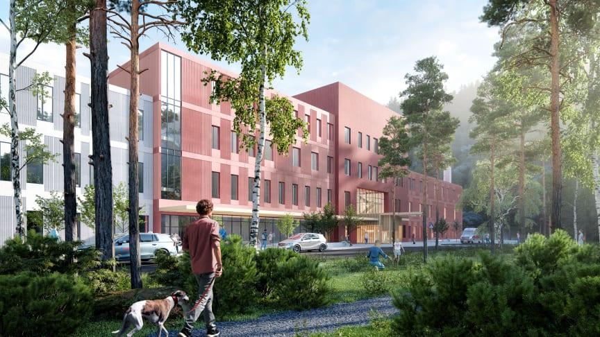 Fasade og inngangsparti nytt sykehus i Narvik. (Alle illustrasjoner i saken: Arkitema)