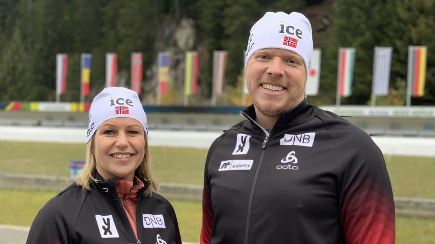 Anterselva: Anne Varden, generalsekretær i Norges Skiskytterforbund og Eivind Helgaker, administrerende direktør i ice. Foto: Norges Skiskytterforbund