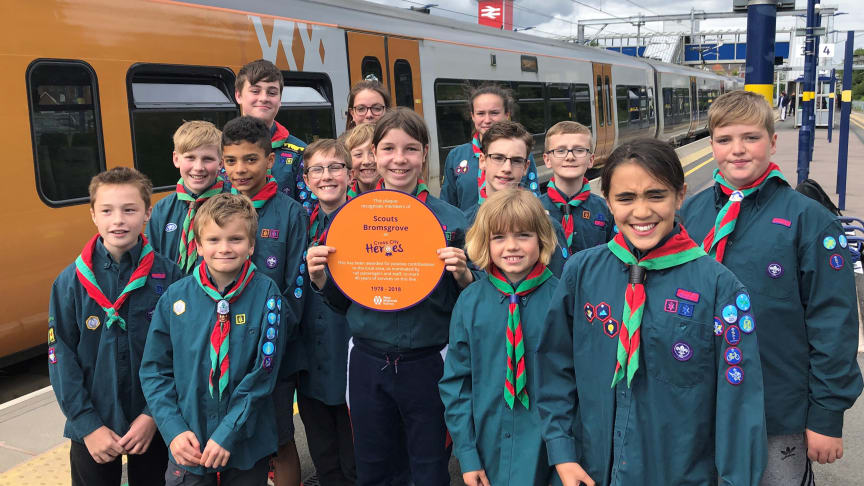 Scouts Bromsgrove members from Finstall Scout Troop with their Cross City Heroes plaque. This will be displayed at Barnt Green station this summer.  Credit - Peter Dodman