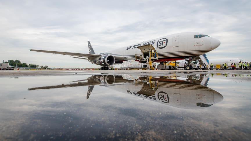 SF Airlines' inaugural flight on a Boeing 767F aircraft landed in Changi Airport today.