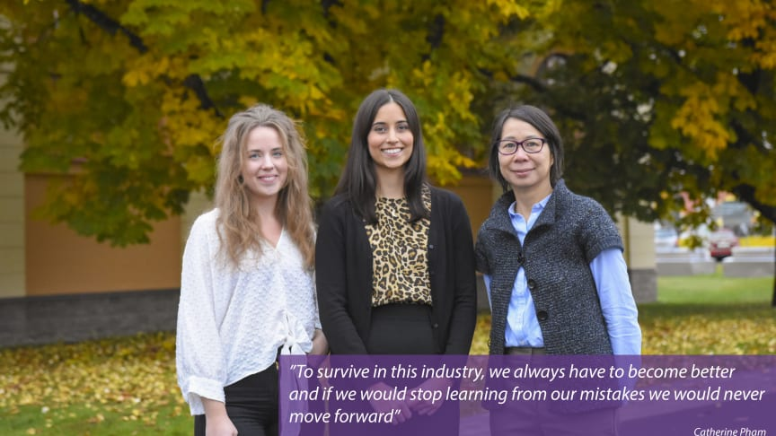 The quality assurance department consists of Sofia Nyberg, Jasmin Faroque and Catherine Pham.