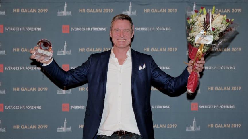 Jonas Tellander, VD Storytel, utsågs på tisdagskvällen till Sveriges HR-profil 2019. Foto: Sveriges HR Förening