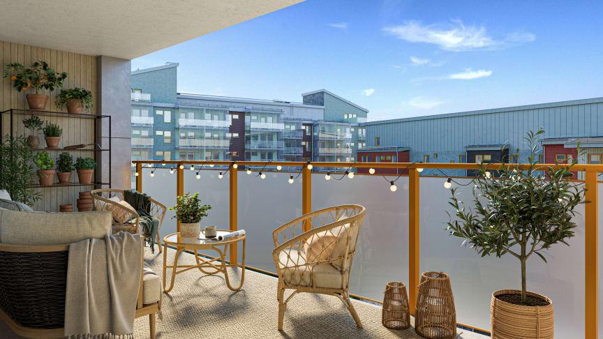 HSB brf Mariehöjd 7 får generösa balkonger i söderläge.