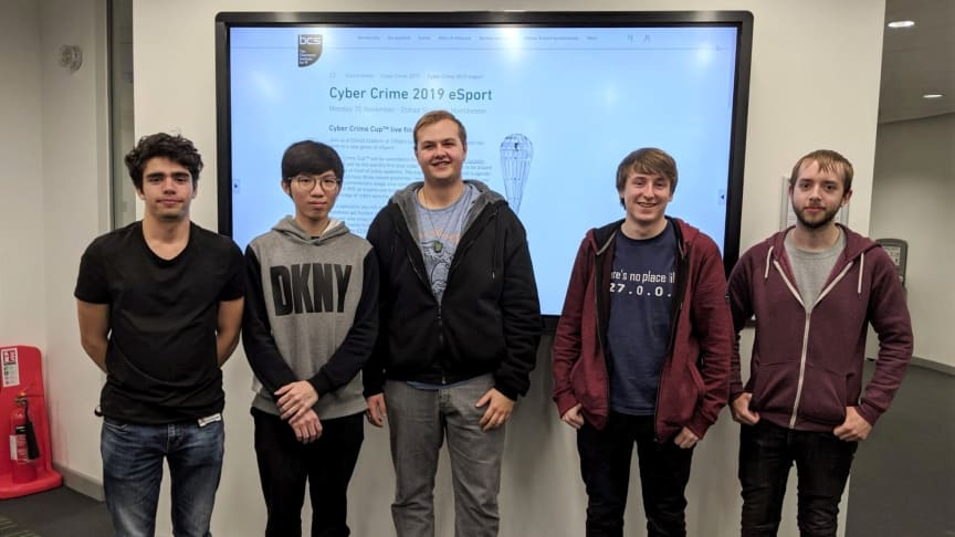 Team NULL at Northumbria University. From left to right: Cosmin Bianu, Wen Jun Lee, Matthew Chambers, Ryan Milner and Joe Cockcroft.