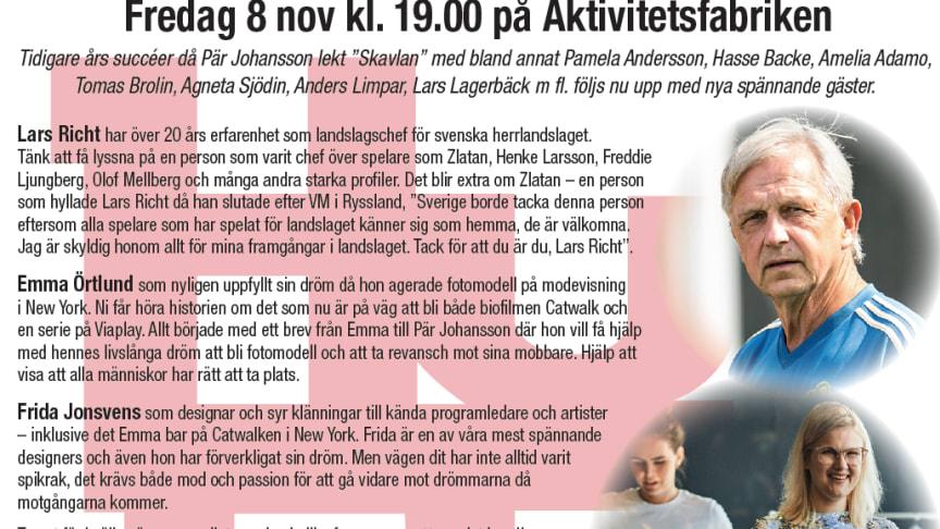 HuFF-galan 8 november med Pär Johansson, Lars Richt, Emma Örlund, Frida Jonsvens!