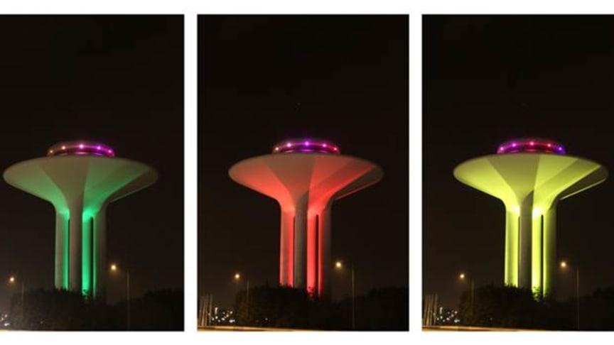 Hyllie vattentorn i regnbågens alla färger