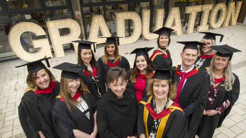 The first graduates pictured with Marie McKeown, practice placement facilitator, Northumbria Healthcare NHS Foundation Trust and Jane Douglas, Senior Lecturer, Northumbria University. Katy Crinson pictured middle row, far right.