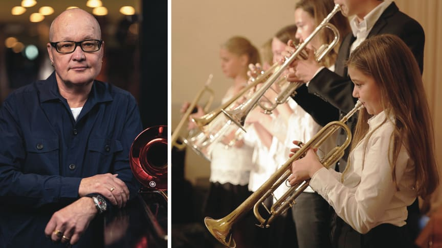 Trombonist Nils Landgren, foto Nikola Stankovic. Musicerande ungdomar, foto Musikaliska