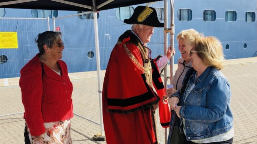 It's a mystery! Fred. Olsen Cruise Lines' 'Balmoral' makes East Anglian maiden call in Great Yarmouth