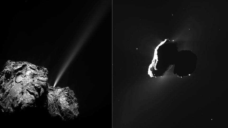 Kometkärnan 67P/Tjurjumov-Gerasimenko i två olika ljussättningar som belyser två olika uttryck av dess aktivitet. Fredrik Leffe Johansson disputerar den 15 januari på avhandlingen Rosetta Observations of Plasma and Dust. Cred: ESA/ROSETTA/OSIRIS/NAC