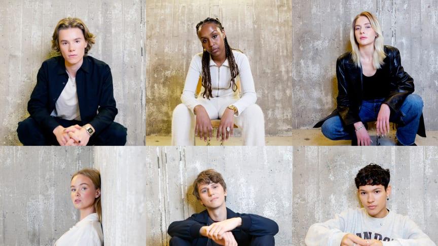 Foto på Edvin Ryding, Ayaan Ahmed, Sofia Kappel, Matilda Källström, Erik Enge och Omar Rudberg. Foto av Carla Orrego Veliz.