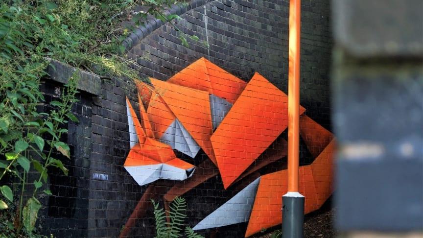 Urban fox artwork turning heads at Wylde Green station in Birmingham