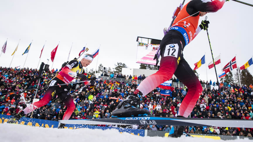 TO ÅR SIDEN SIST: De norske skiskytterne kan se frem til å konkurrere på hjemmebane i Holmenkollen i fire nye år. Foto: NTB Scanpix