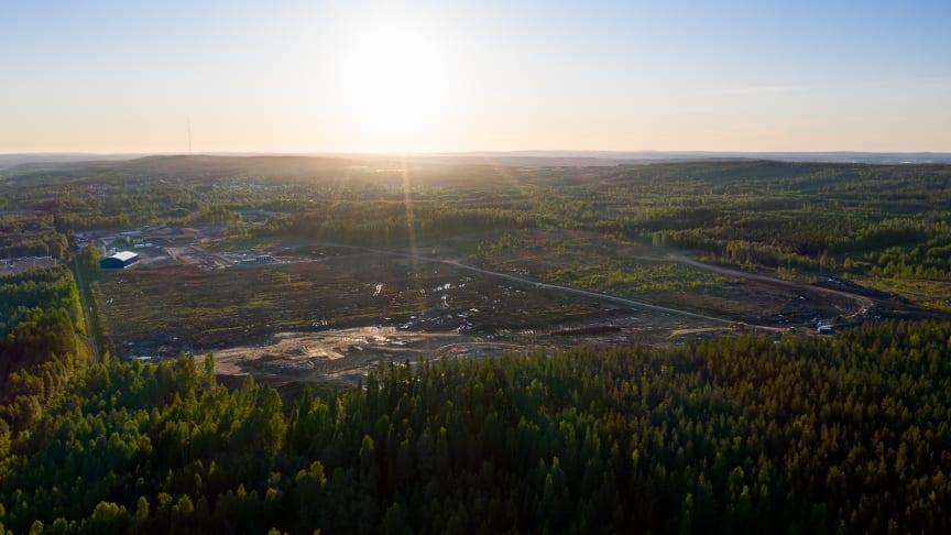 Vy över det nya industriområdet Skellefteå Site East.