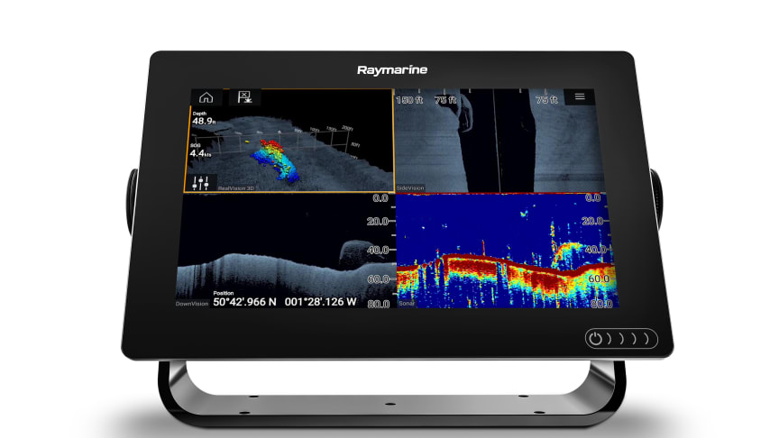Raymarine's Axiom 9 MFD Showing  fish and structure via RealVision 3D™