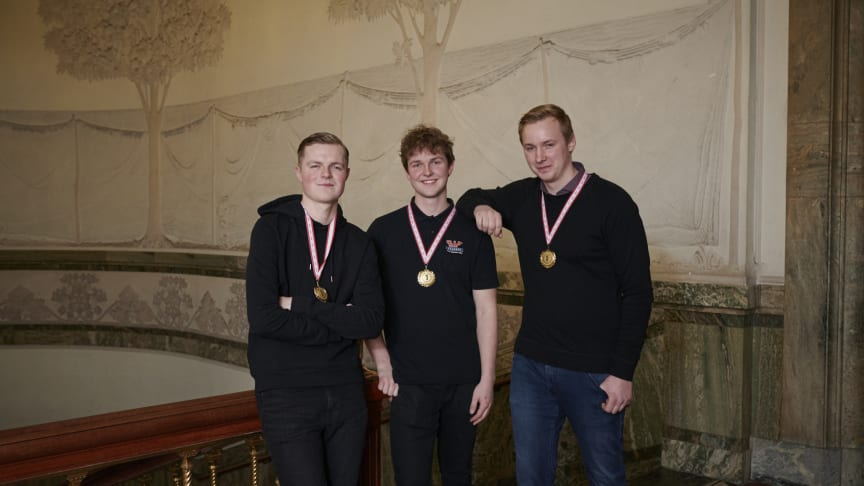 Vinderne af DM i Skills 2020 Lucas Barkow, Emil Eigenbrod og Mathias Erforth Hinrichsen.
