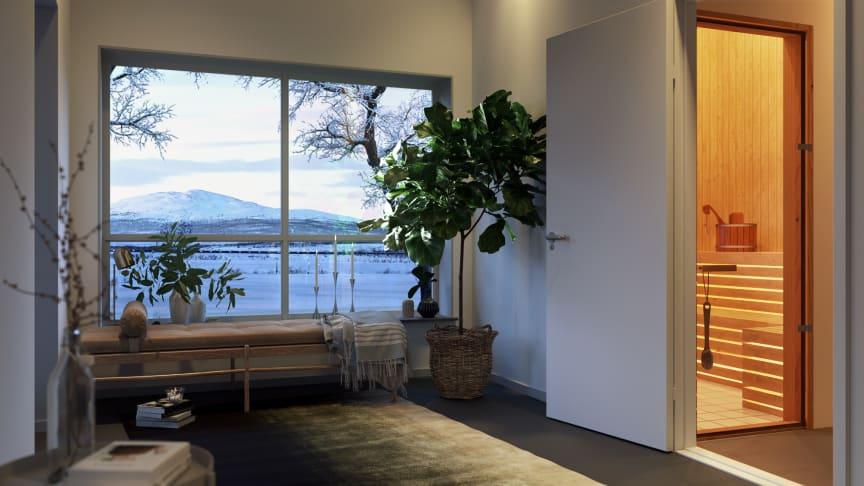 Så här är det tänkt att gemensamhetslokalen i Brf Fjällvyn ska komma att se ut, med bastu och magnifik utsikt.
