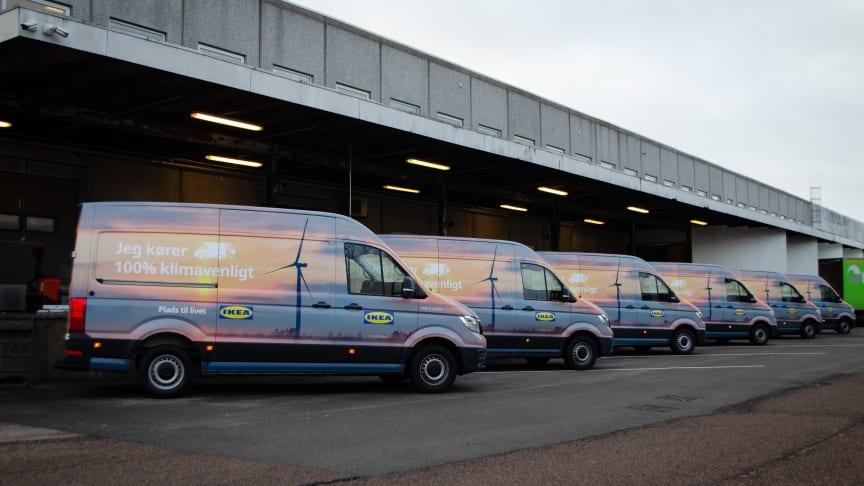 IKEA Danmark har investeret i nye varebiler, der er 100 procent eldrevne.