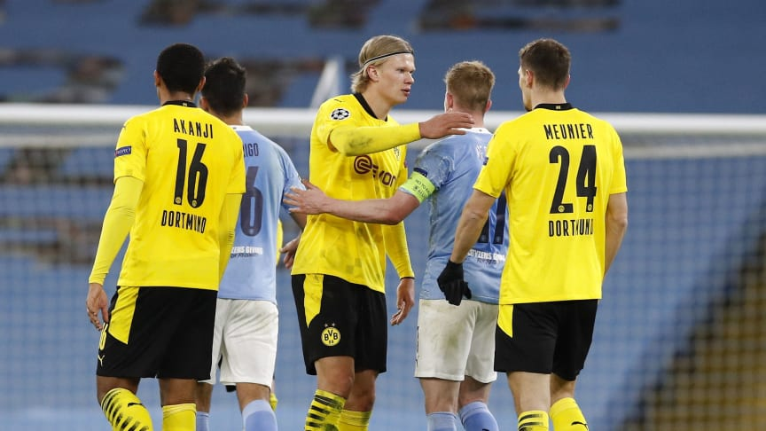Erling Braut Haaland og Borussia Dortmund tar imot Manchester City onsdag. FOTO: Ritzau Scanpix