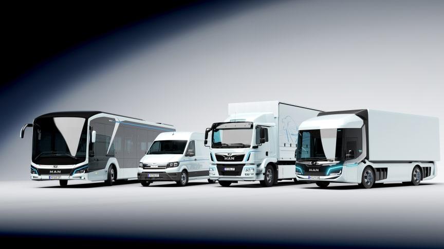MAN viser på Transport 2019 hele tre køretøjer, som kører på el. MAN CitE, MAN eTGM og MAN eTGE vil med garanti vække opmærksomhed.  Bussen på billedet; en MAN Lion's City E, er klar til levering sidst i 2020.
