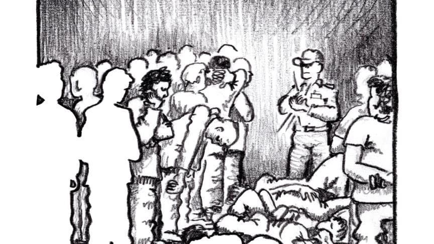 Illustration av överfullt fängelse. @Antonio Colafemmina /Amnesty International