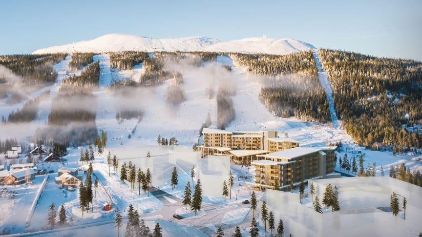 Illustrasjonsfoto av byggetrinn 1 for Trysil Alpine Lodge.