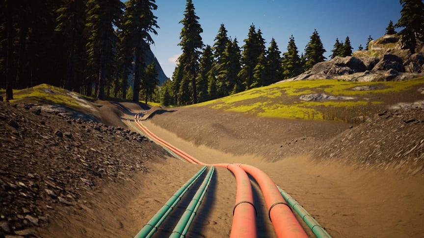 Fargen på kabelrørene under bakken forteller hva slags kabler rørene inneholder. Illustrasjon: Trainor AS - Electri City