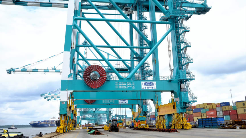 Reel power: Cavotec motorised cable reels on the ZPMC cranes at PTP in Malaysia.