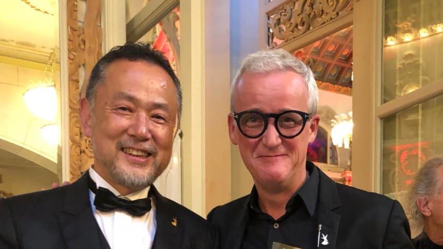 """""""Globe Educator Award 2018"""" von Intercoiffure Mondial für Frank Brormann mit Herrn Hiroyuki Obayashi aus Nagoya in Japan"""