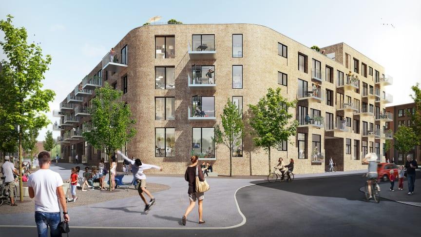 Det er Årstiderne Arkitekter, der har tegnet projektet, som består af 113 lejligheder om et stort fælles gårdrum