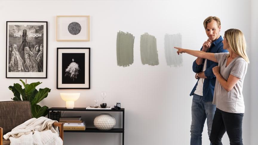 50% av forbrukere som skal male om hjemme mangler seltillitt når det kommer til fargevalget.