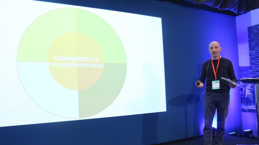 Chris McCormick fra DOGA forteller om hvilke grep norske kommuner og næringsliv bør foreta for å bli mer miljøvennlige. Foto: Endre Simonsen.