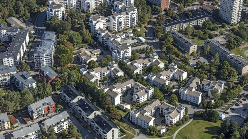 Flygfoto över Bagartorp och Agnesberg