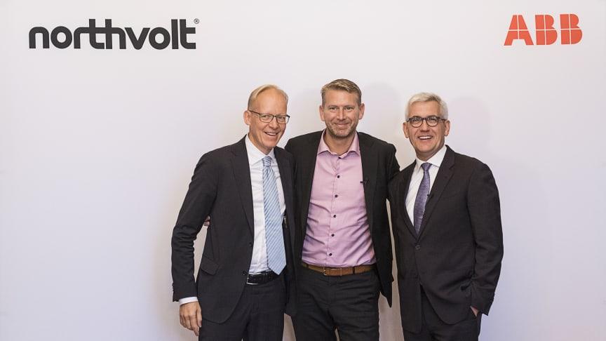 Johan Söderström, MD ABB Sweden, Peter Carlsson, Founder and CEO Northvolt, and Ulrich Spiesshofer, CEO ABB.