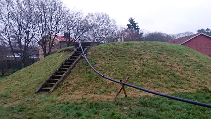 Under bevattningsförbudet 2018 fylldes vattenreservoaren i Billinge med tankbil under flera månader.
