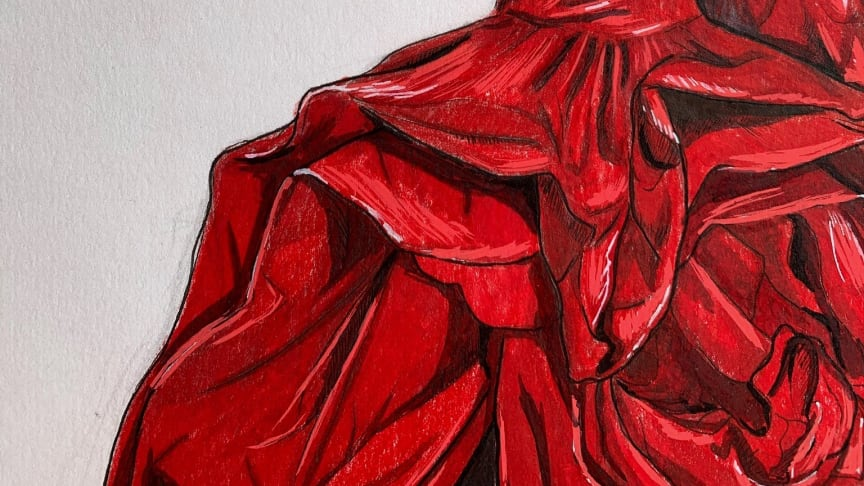 The illustration by student Bethany Oakey, which was chosen to be part of the Alexander McQueen tribute to the NHS.