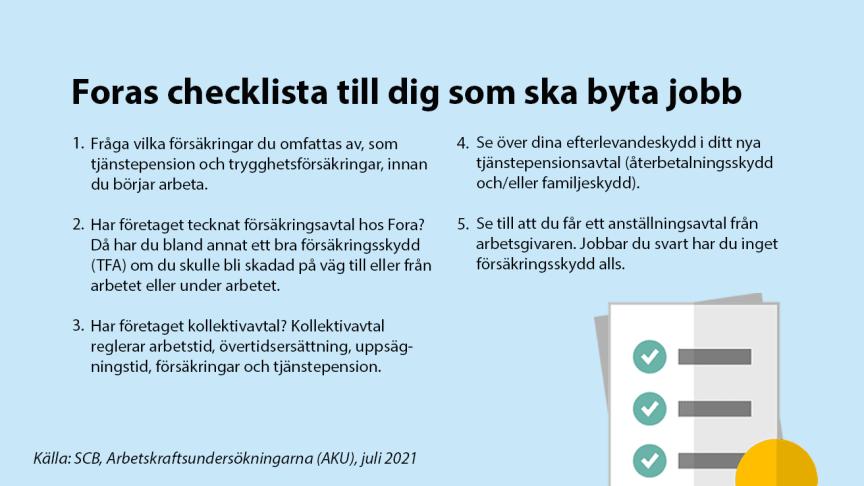 Nytt jobb? Kolla dina försäkringar. Här är Foras checklista.