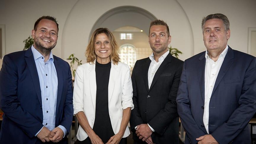 Fra venstre: Anders Salomonsen, statsautoriseret revisor og partner i Addea, June Mejlgaard Jensen, administrerende direktør i Azets, Morten Plenge, statsautoriseret revisor og partner i Addea og Michael Lynggaard, partner i Addea