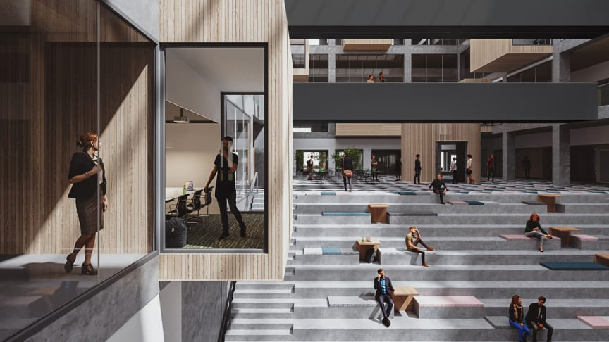 Keväällä 2020 valmistuva Turun ammattikorkeakoulun EduCity-rakennus on mobiilin kulunvalvonnan toteutuksessa edelläkävijä Suomessa. Kuva: Sigge Arkkitehdit Oy