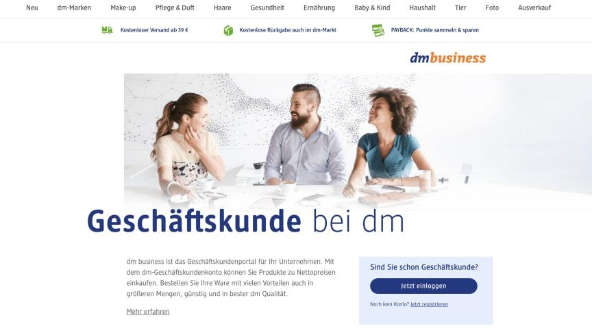 dm business - die Plattform für planungssicheres, flexibles und unkompliziertes Einkaufen