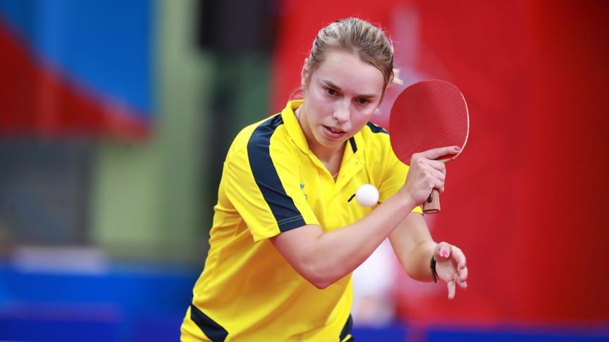 Linda Bergström under European Games i Minsk 2019 där hon tog sig till kvartsfinal. Foto: Remy Gros/ITTF
