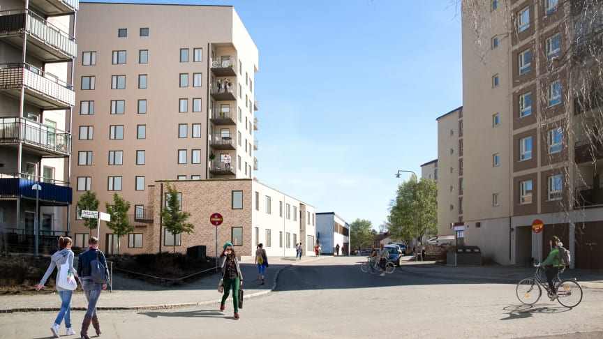 Grönskär precis vid Kärrtorps centrum får 42 lägenheter. Illustration: Tovatt Arcitects & Planners AB