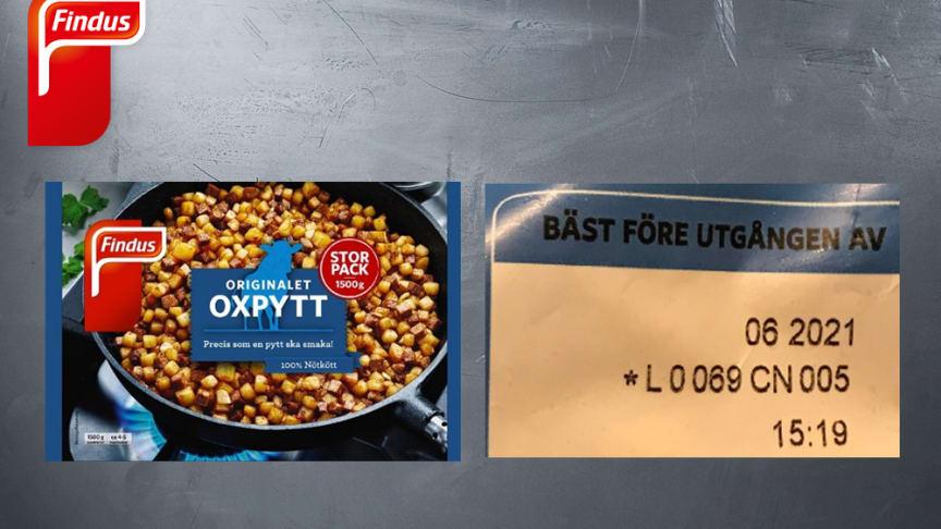 Findus återkallar ett parti av produkten Originalet Oxpytt Storpack 1500 gram, art.nr. 96007717