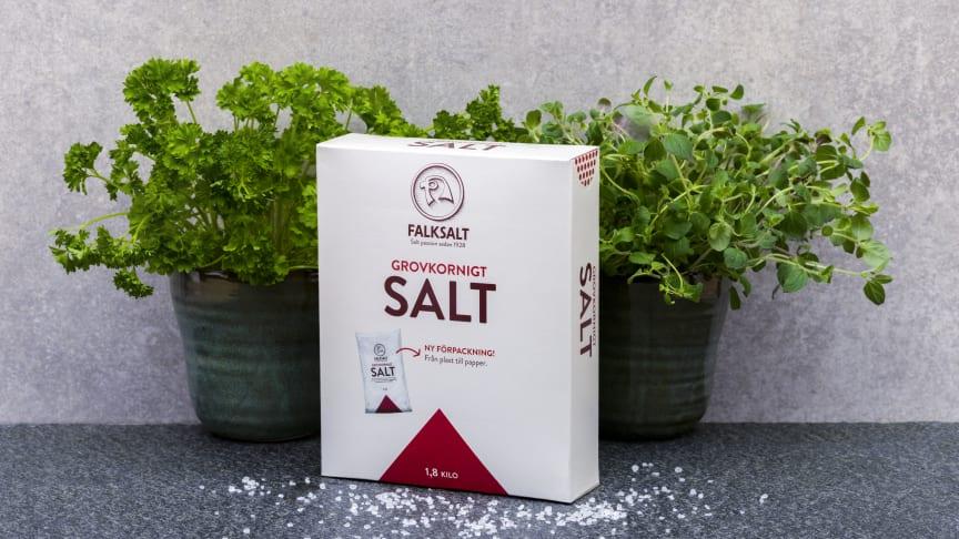Ny, smartare förpackning för  grovkornigt salt från Falksalt