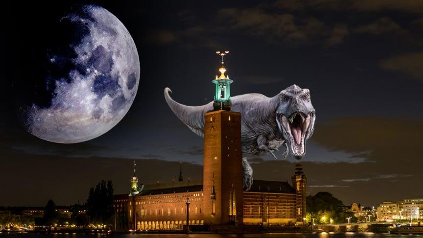Vi har släppt in ett monster i staden. Monstret är fastighetsspekulationen. Fotomontage: Equal Foto: © [Tyrannosaurus, warpaintcobra] / Adobe Stock