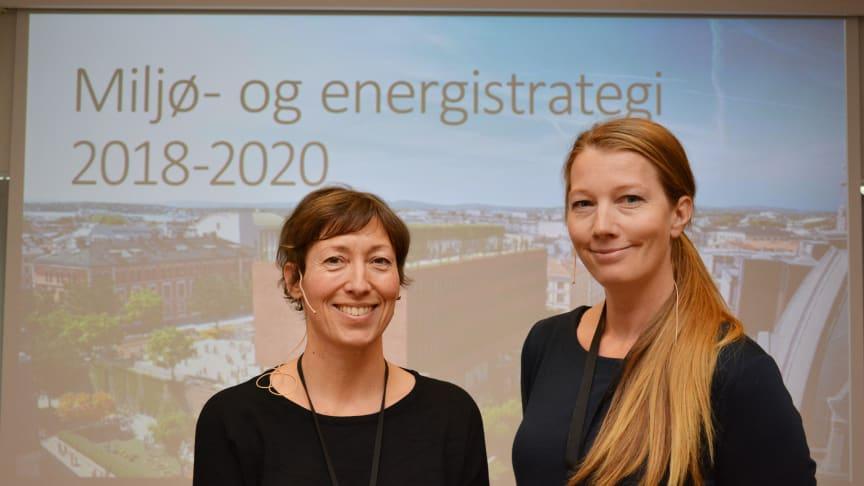 Miljørådgiver Bodil Motzke og energiledelseskoordinator Rita Næssén Barkholm i Undervisningsbygg.
