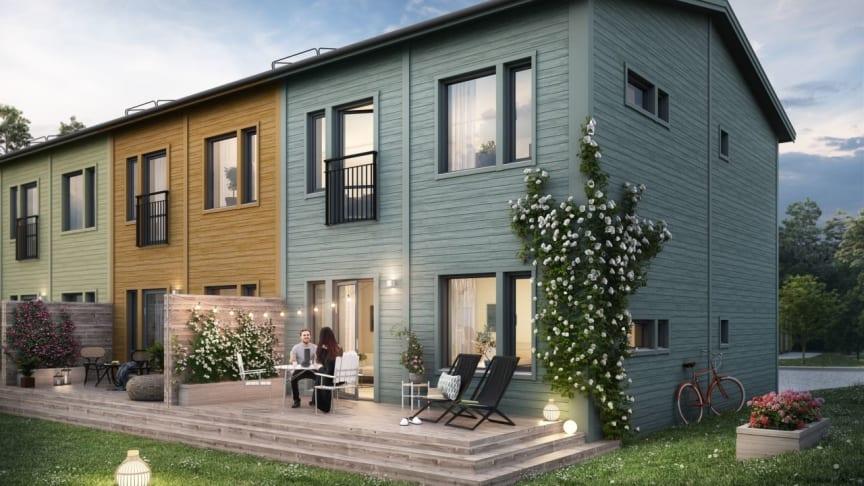 I Brf Valsjöskogen byggs par- och radhus på 107, 120 och 137 kvm.