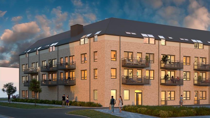 Det finns fortfarande ett fåtal lediga nya hyresrätter i Torghusen, Fyllinge. Här bygger HFAB 70 lägenheter med första inflyttning i december 2021.