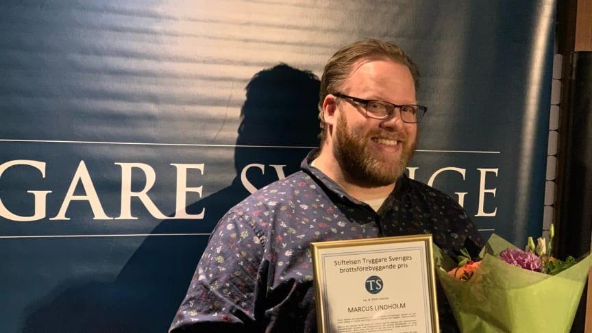 Marcus Lindholm är mycket glad över att ha tagit hem priset för Optidev.